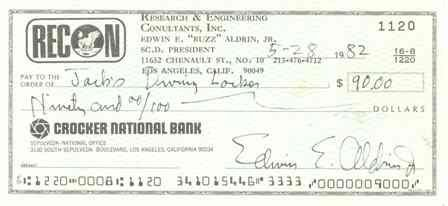 533: Buzz Aldrin Handwritten & Signed Bank Check GAI