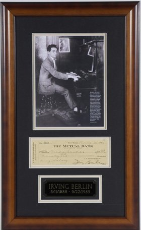 538: Irving Berlin Signed Bank Check Display