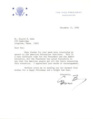 541: George Bush Signed Letter as Vice President GAI