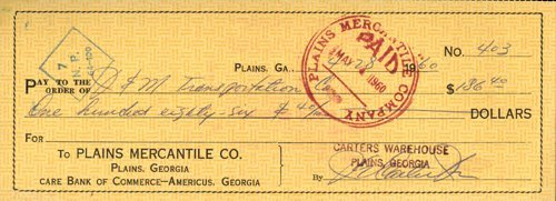 548: Jimmy Carter Vintage Signed Bank Check PSA