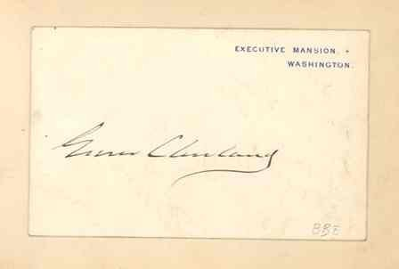 551: Grover Cleveland Signed Executive Mansion Card