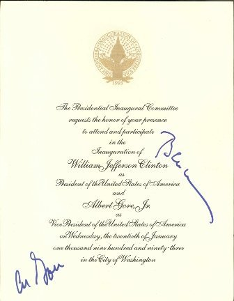 552: Bill Clinton + Al Gore Signed Inauguration Invite