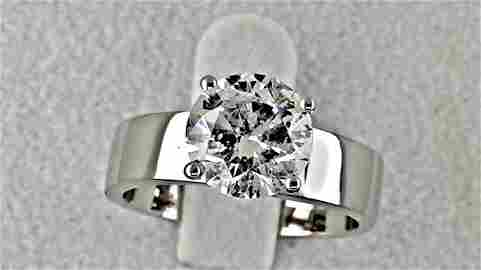 2.07 ct round diamond solitaire ring 18 kt gold