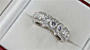 3.73 ct round diamond wedding ring in 14k t white gold