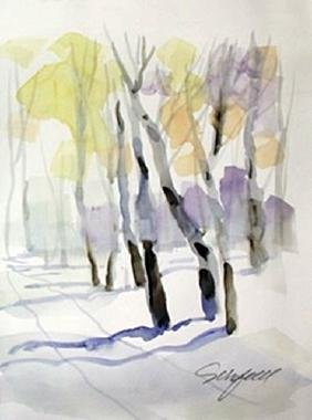 "Original Watercolor on Paper ""Winters Road"" by Michael"