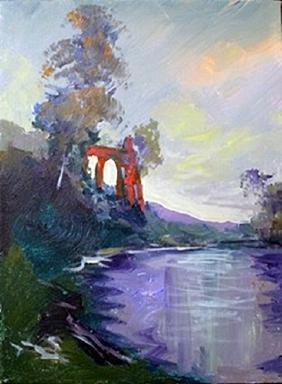 "Original Acrylic on Canvas ""Ancient Ruins"""