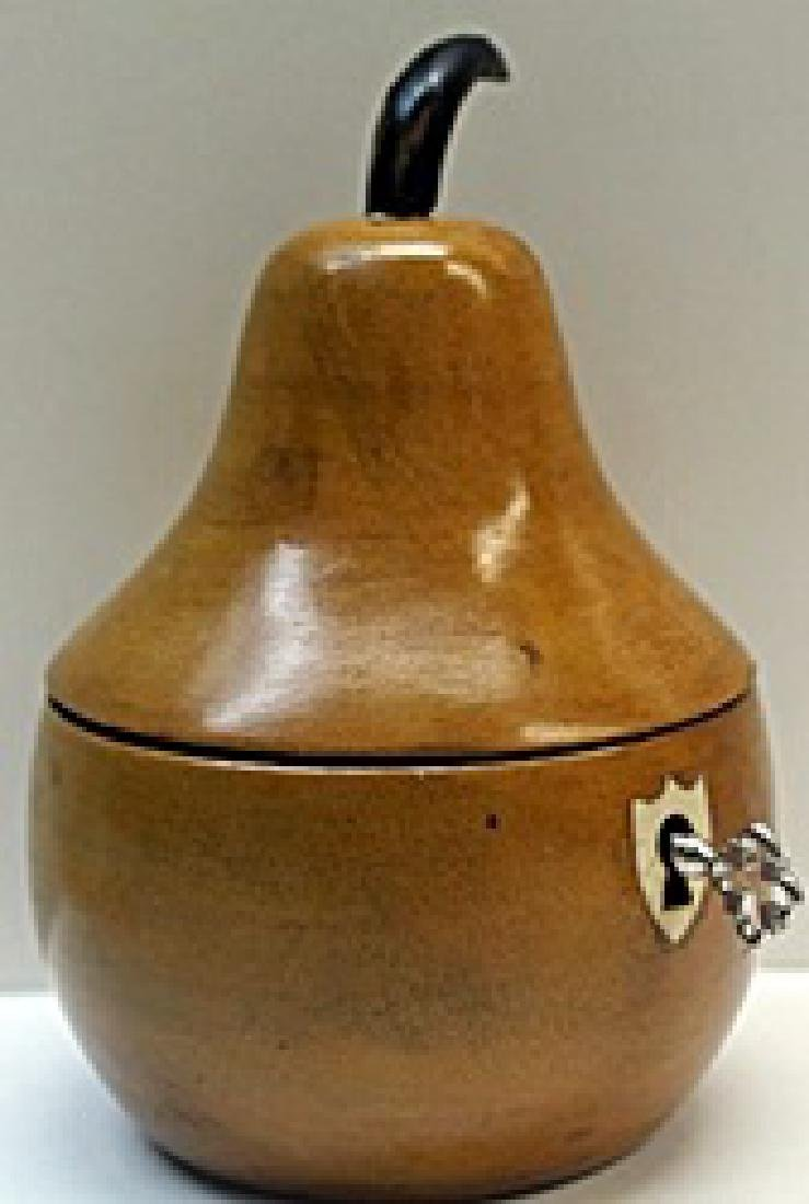Hand Carved Antique Wood Pear Lockbox w/ Key