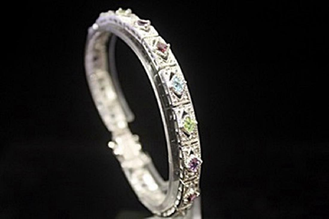Gorgeous Peridot, Amethyst & Sapphires Silver Bracelet