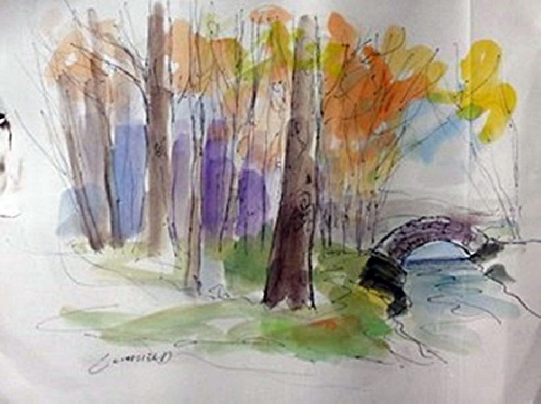 "Original Ink & Watercolor on Paper ""Old Stone Bridge"""