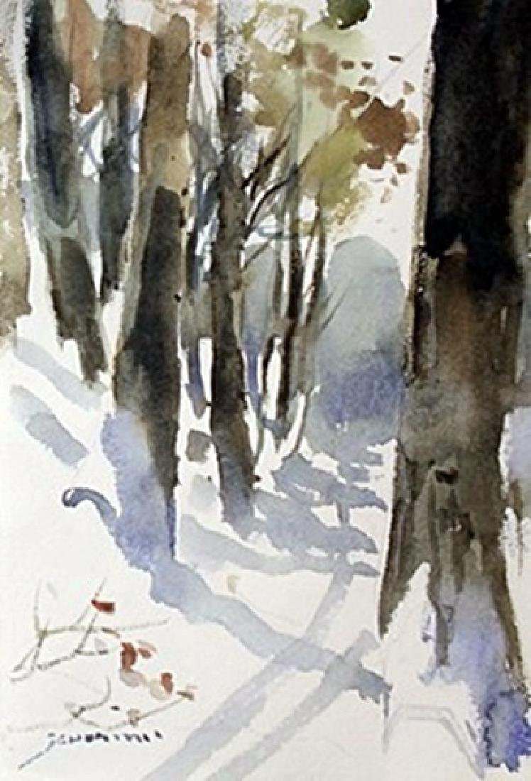 """Original Watercolor on Paper """"Trail in Winter"""" by"""