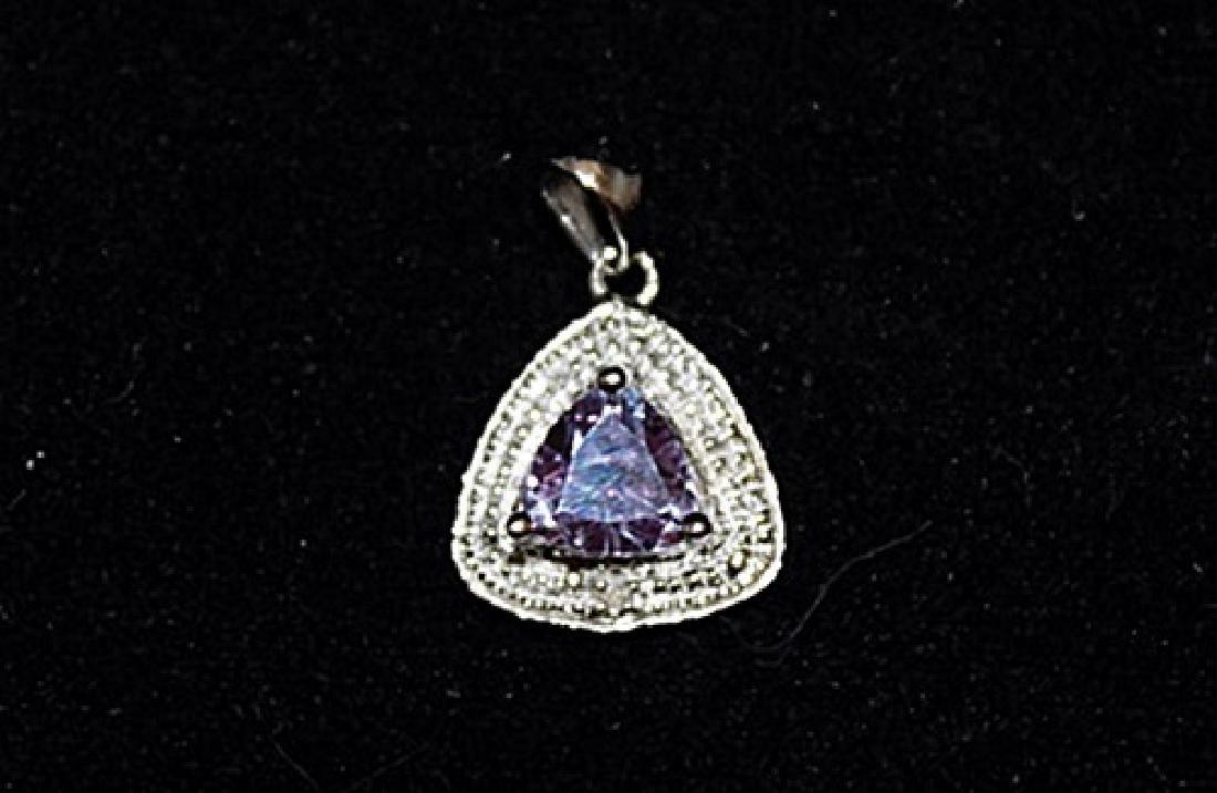 Lavish Lab Sapphire & Diamonds Silver Pendant (19P)