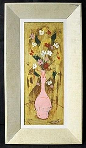 "Original Oil in Wood Panel ""Narrow Still Life With"