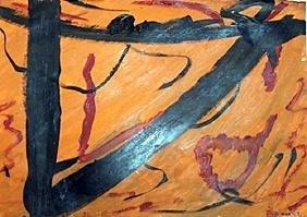Composition - Emil Schumacher - Oil On Paper