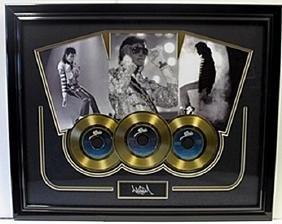 Michael Jackson Memorabilia W/ 3 Gold Plated Records