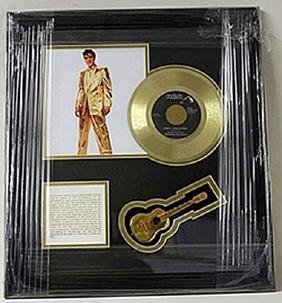 Elvis Presley Giclee with Gold Album and Mini Guitar