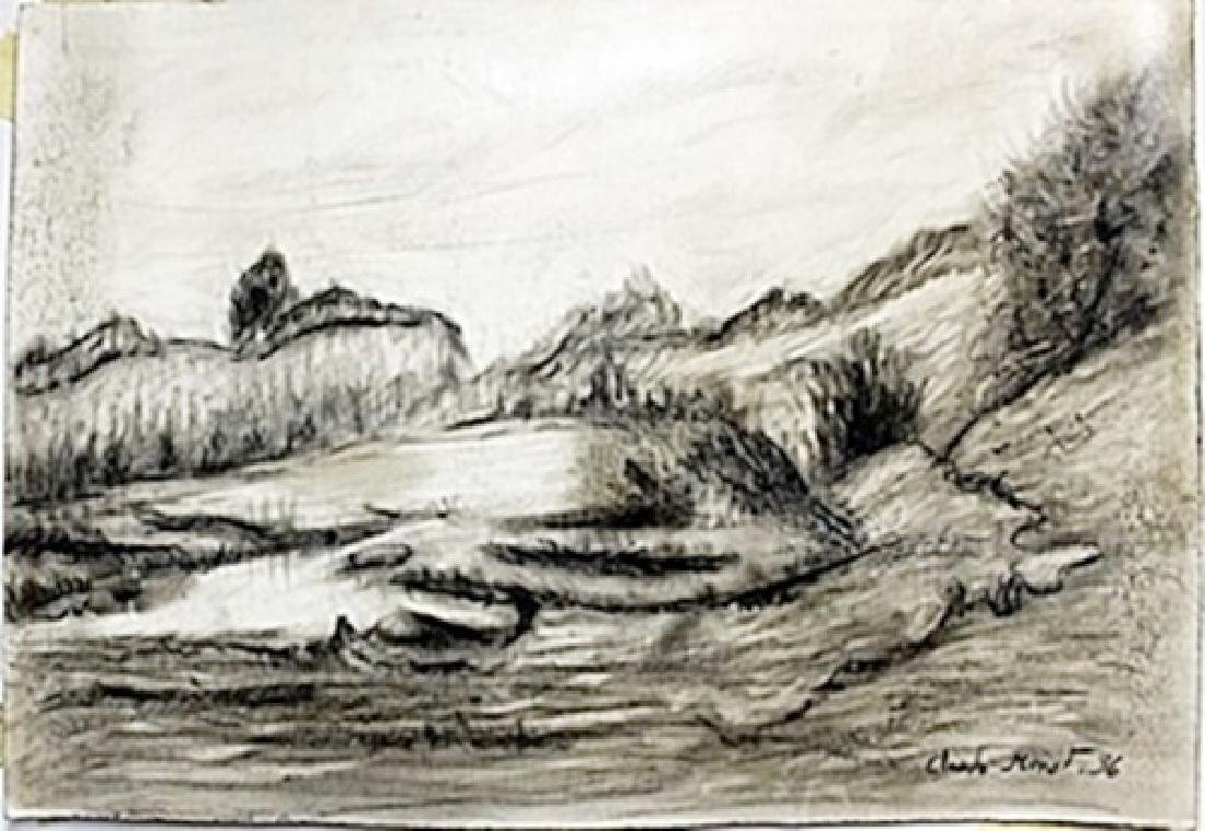 Pen Drawing on Paper -  Claude Monet