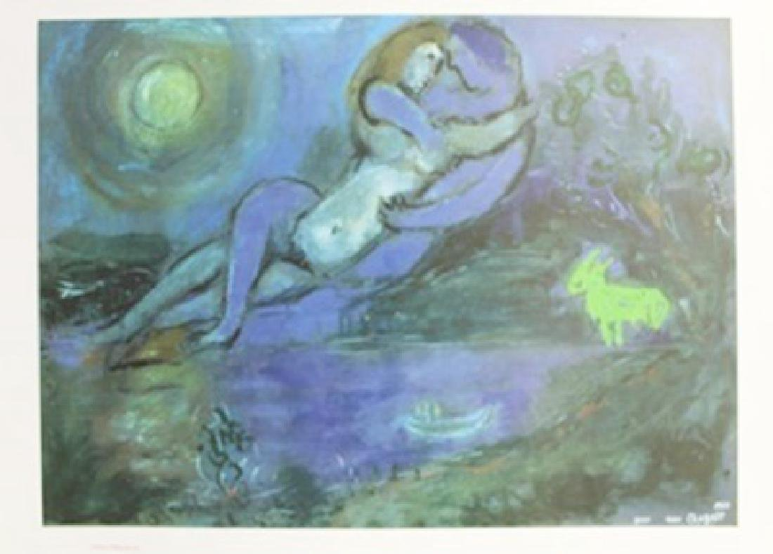 "Lithograph ""Couple Blew au Borde de L'Eau"" By Marc"