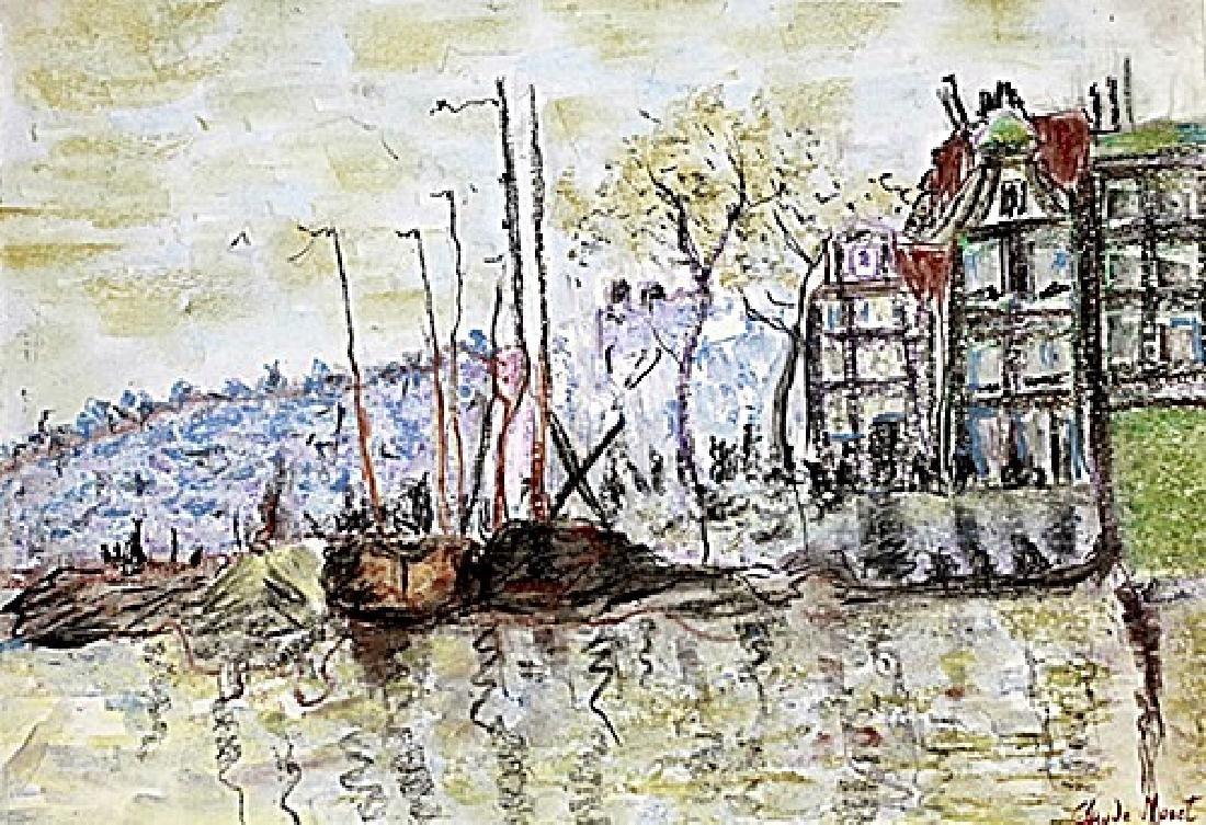 Beach In Pourville - Claude Monet - Pastel On Paper