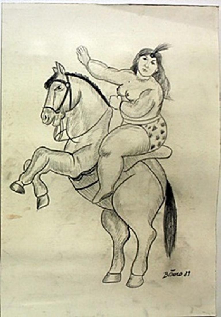 Pastel Drawing on Paper -  Fernando Botero