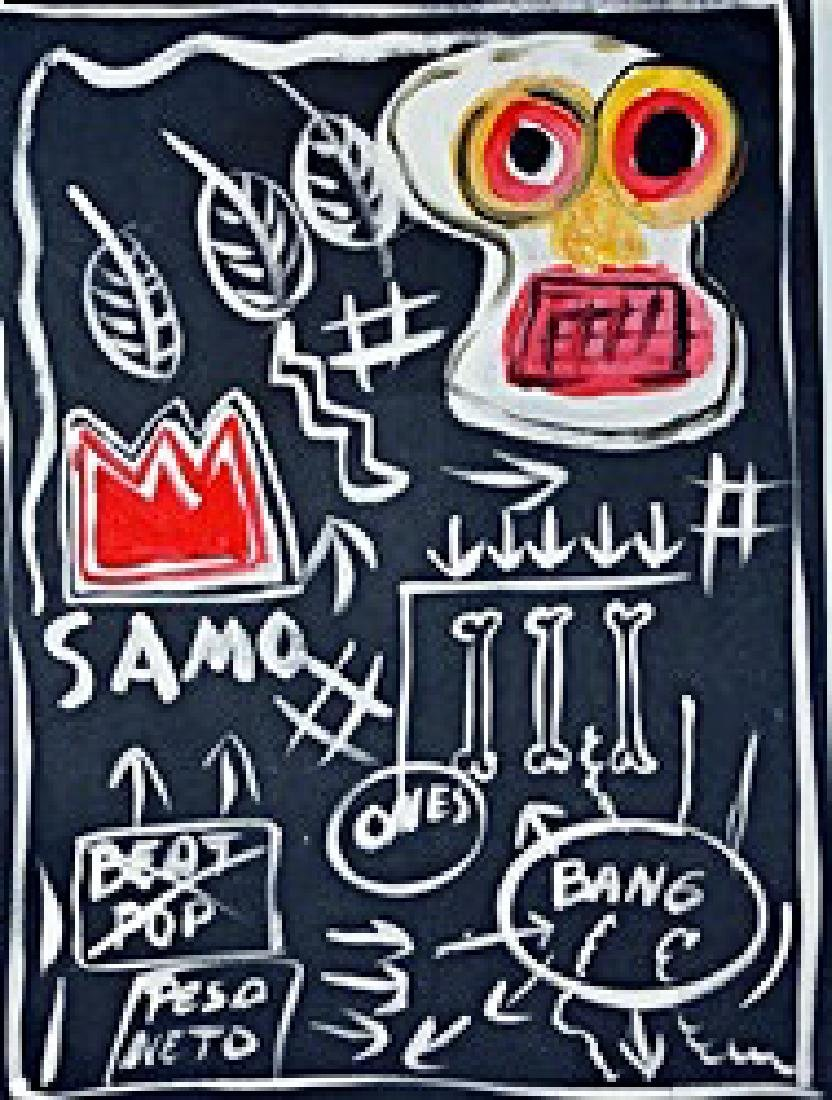 Jean Michel Basquiat - Oil On Paper