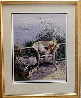 """Framed Hand Signed Lithograph """"victorian Chair By The"""