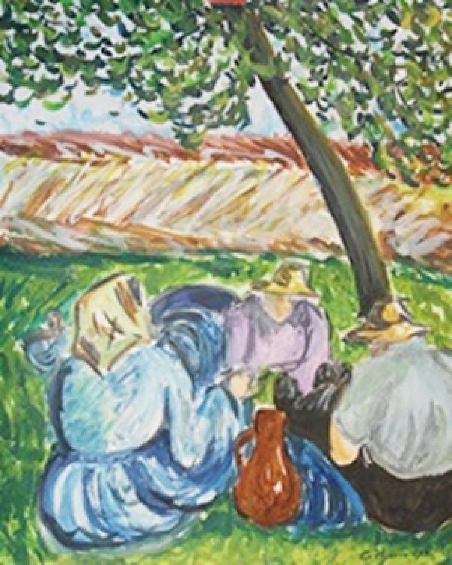 Haymakers Resting - Camille Pissarro - Watercolor On