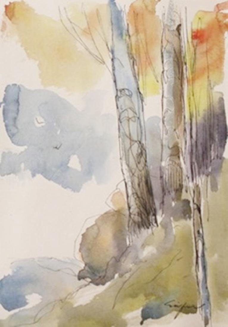"""Original Ink & Watercolor on Paper """"Summer on a Slope"""""""