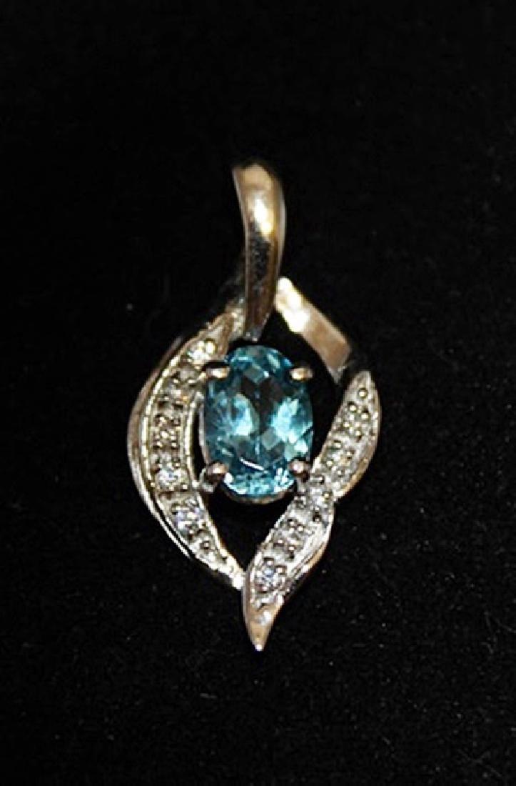 Dazzling Topaz & Diamonds Silver Pendant (14P)