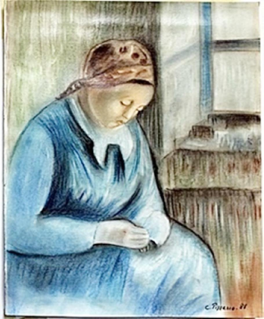 Pastel Drawing on Paper -  Camille Pissarro