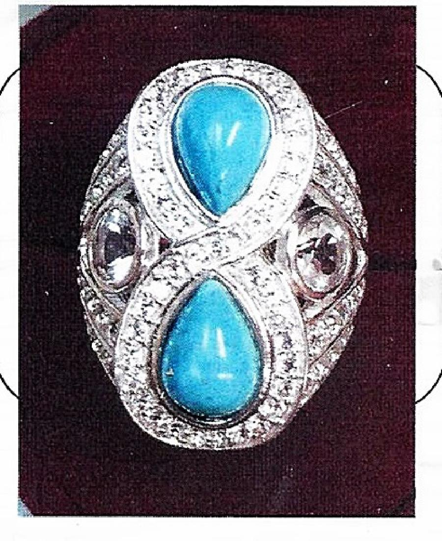 Ladys silver turquoise ring