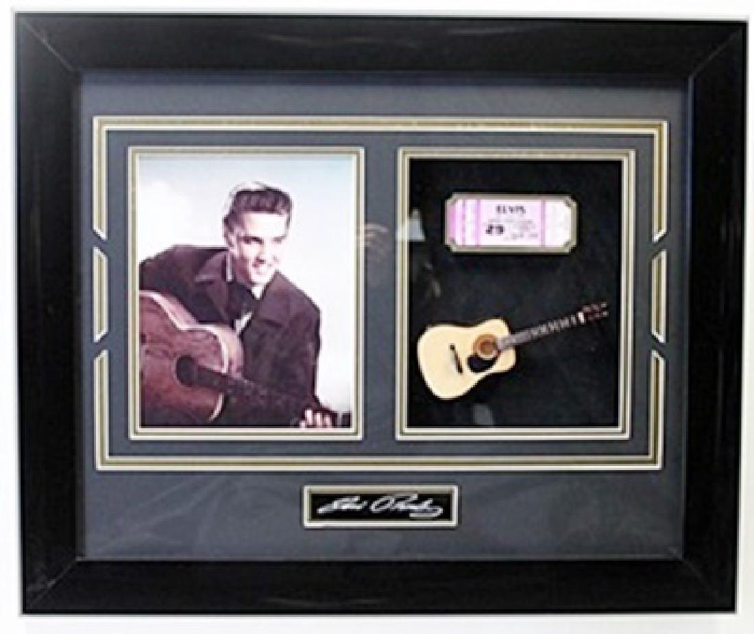 Elvis Presley Custom Framed Photo W/ Mini Acoutsic