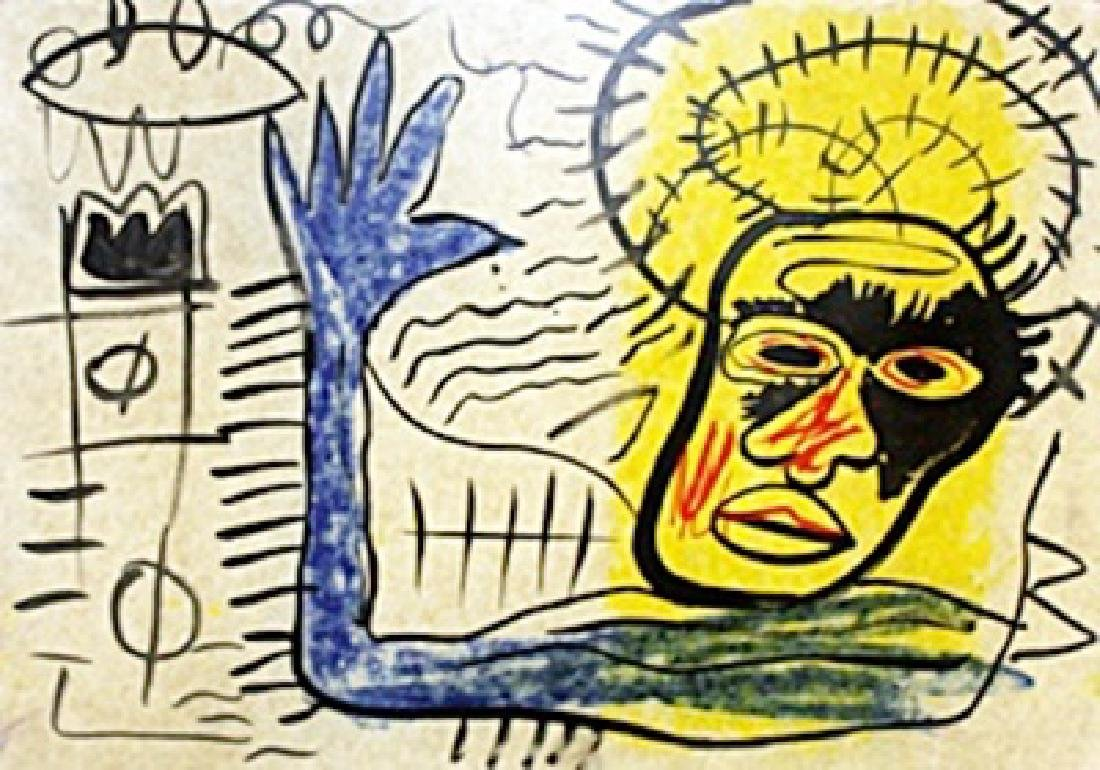 Oil Painting on Paper - - Jean Michel Basquiat