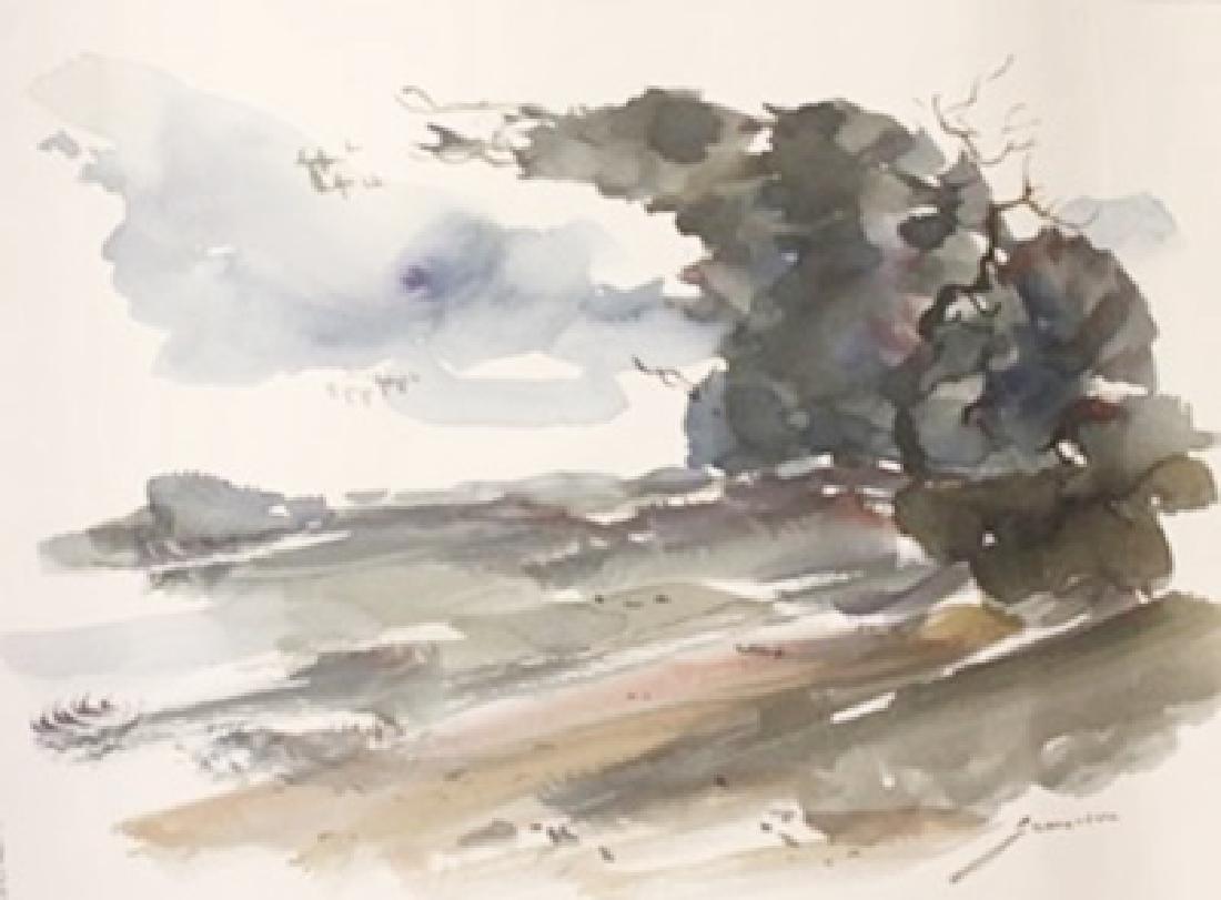 "Original Watercolor on Paper ""A Dark Night"" by Michael"