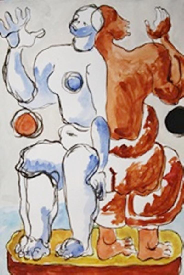 Two Man - Le Corbusier - Watercolor On Paper