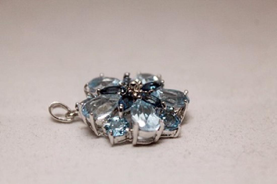 Fancy  London Blue Topaz Silver Pendant (86P) - 2