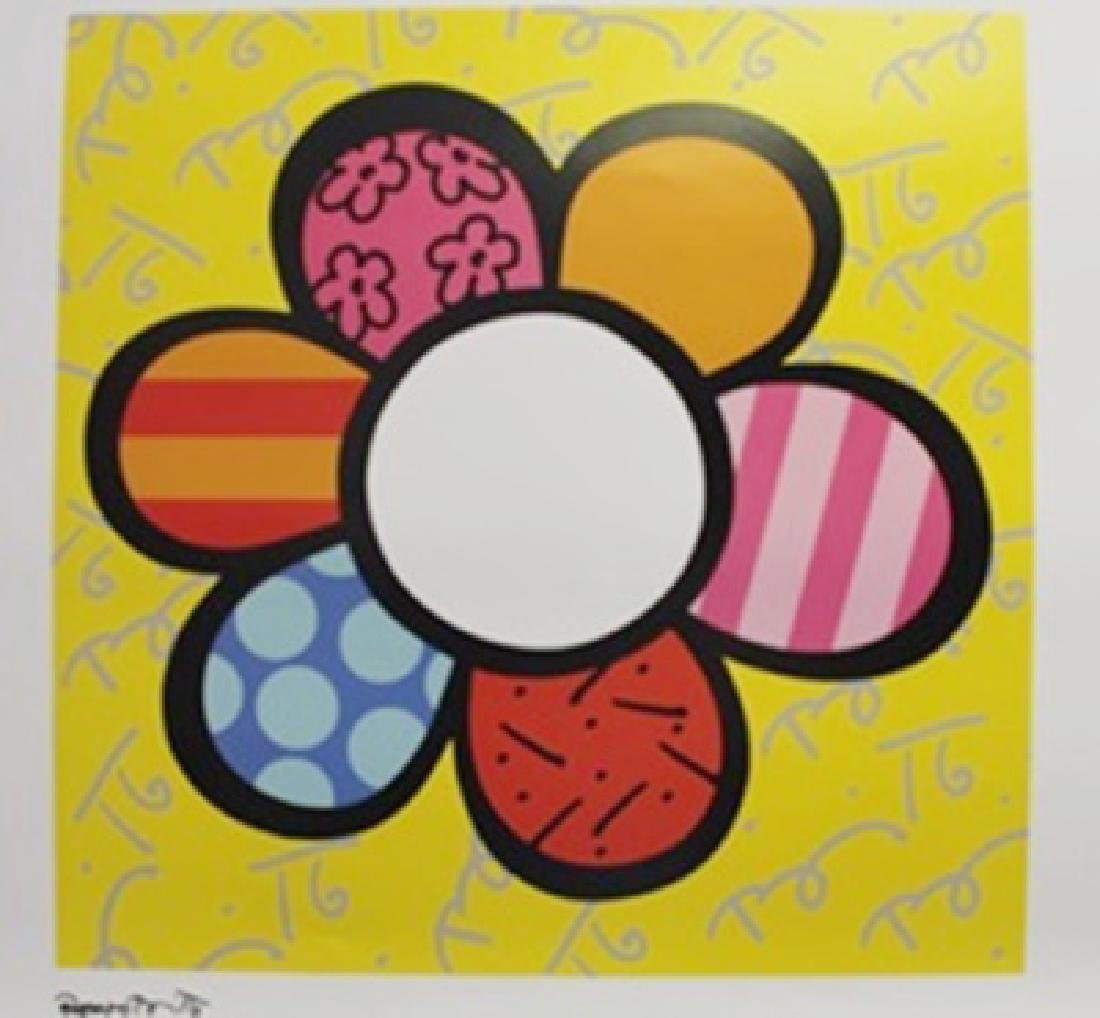 """Lithograph """"Flower Power I"""" By Romero Britto"""