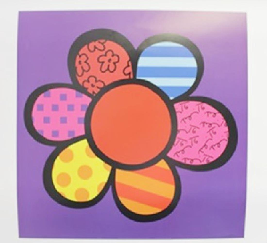 """Lithograph """"Flower Power III"""" By Romero Britto"""