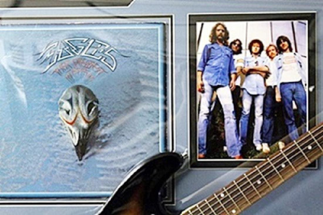 The Eagles Signed Guitar with Bio, Photo and Gold - 2