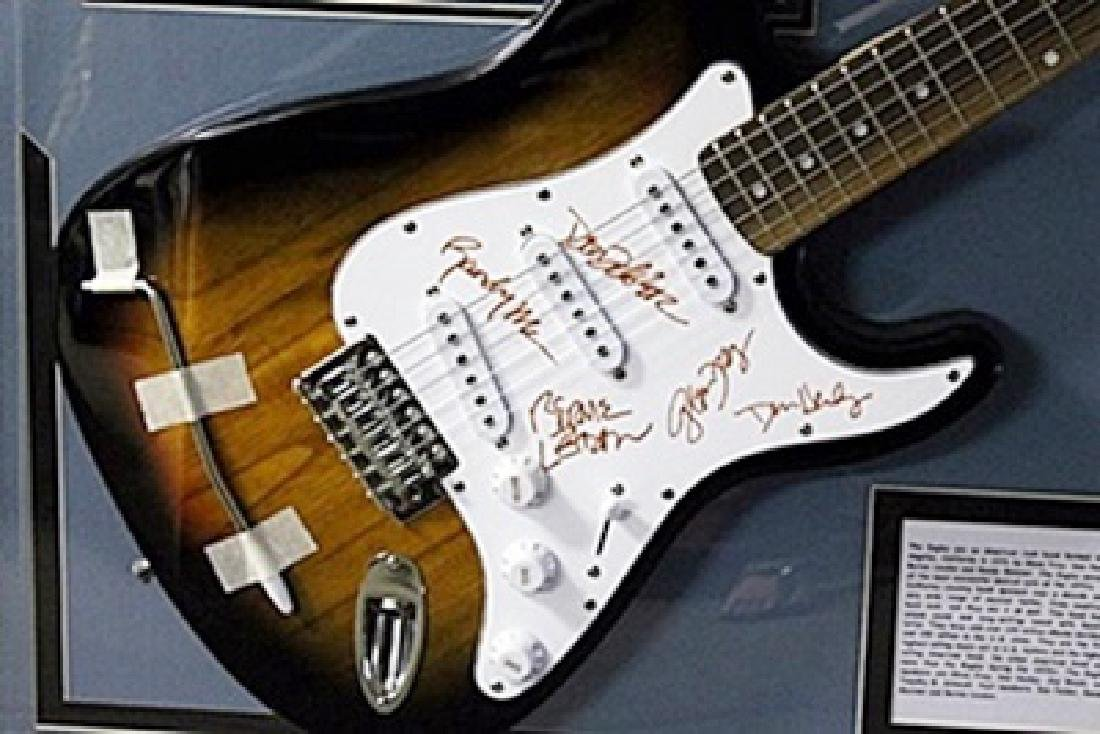 The Eagles Signed Guitar with Bio, Photo and Gold - 3