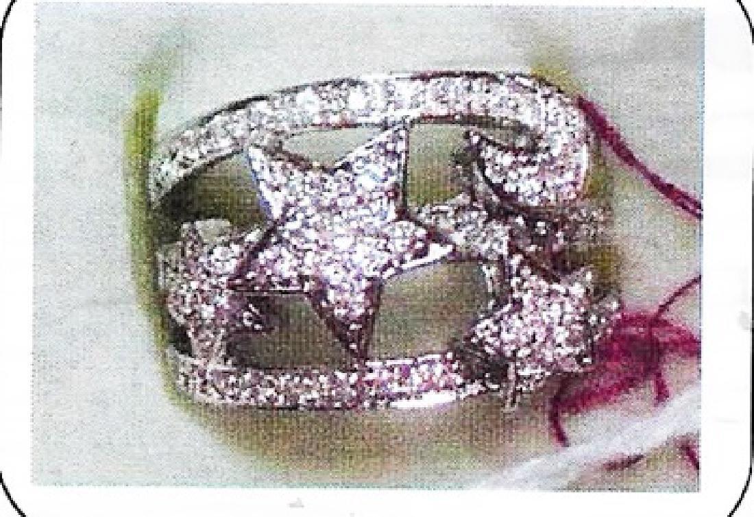 Ladys silver lab white sapphire ring