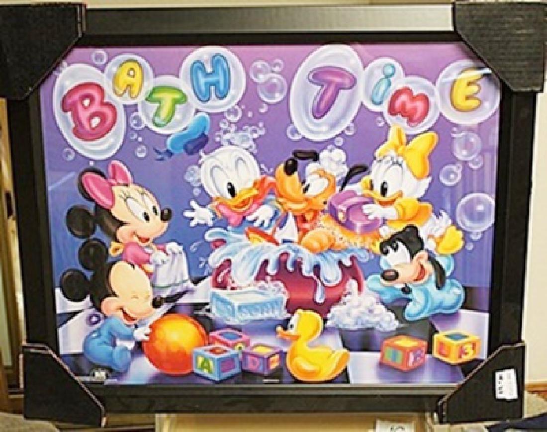"Framed Lithograph ""Disney Bath Time"""
