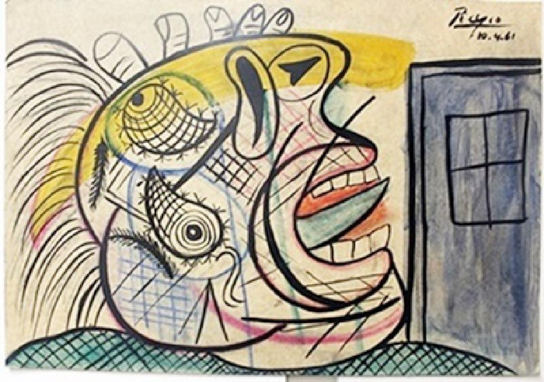 Oil/Pastel Painting on Paper -  Pablo Picasso