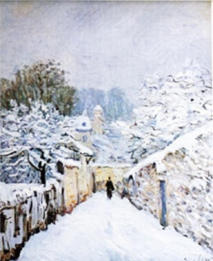 Lithograph - Snow in Lauveciennes 1878 - Alfred Sisley