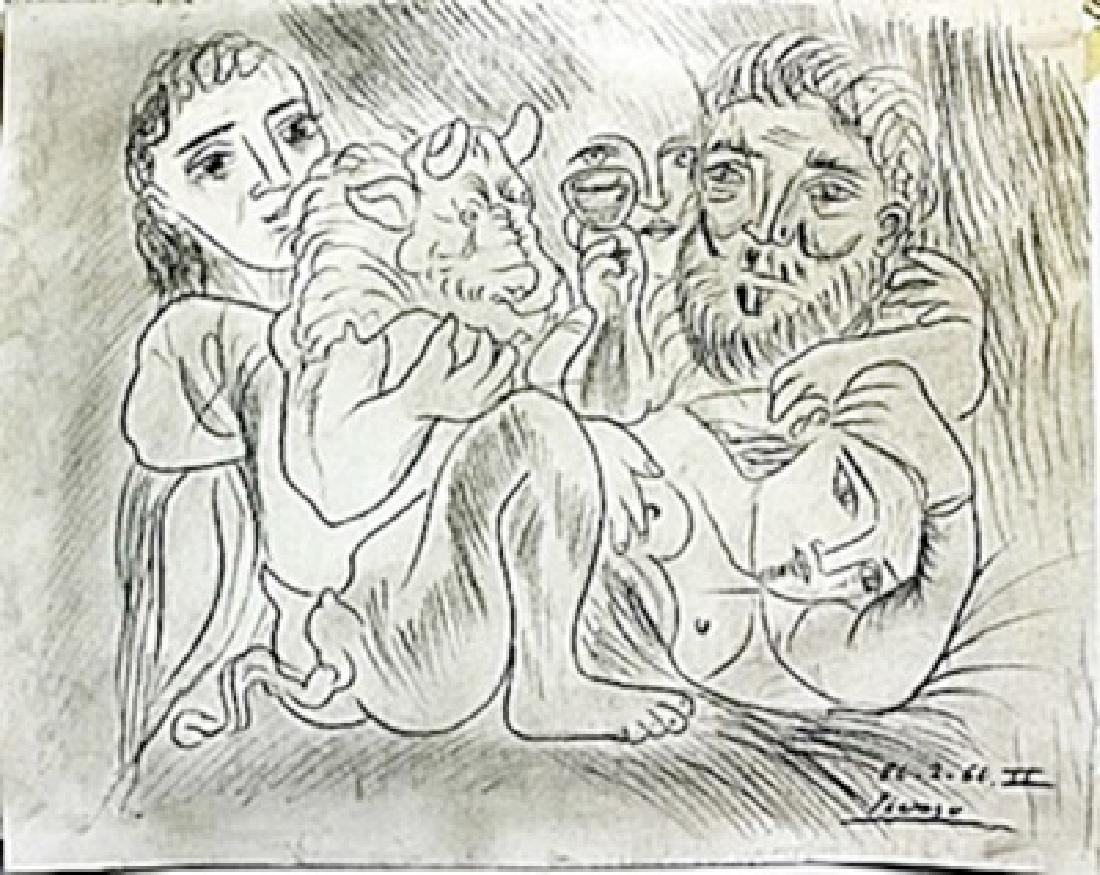 Pen Drawing on Paper -  Pablo Picasso