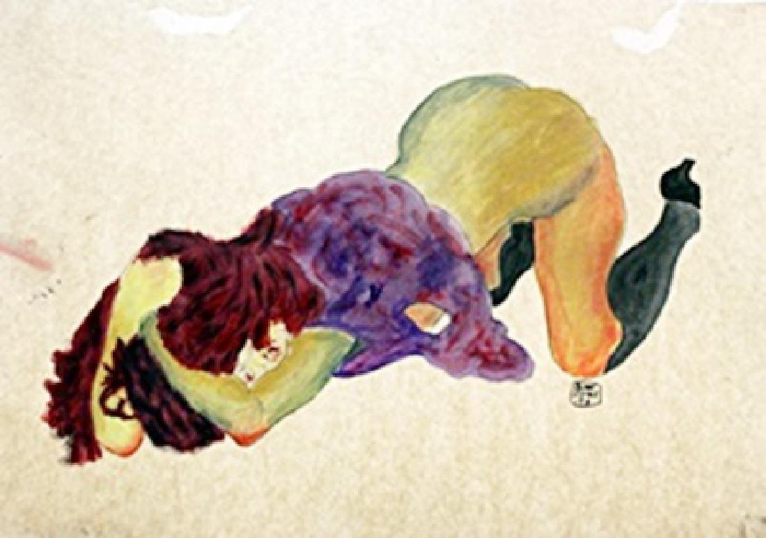 Watercolor Painting on Paper - Egon Schiele