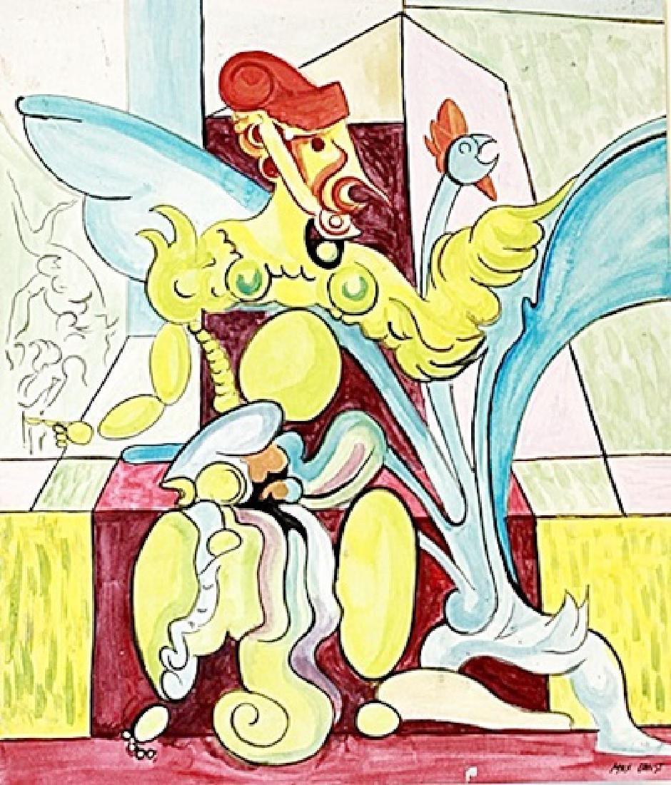 The Bird - Max Ernst - Watercolor