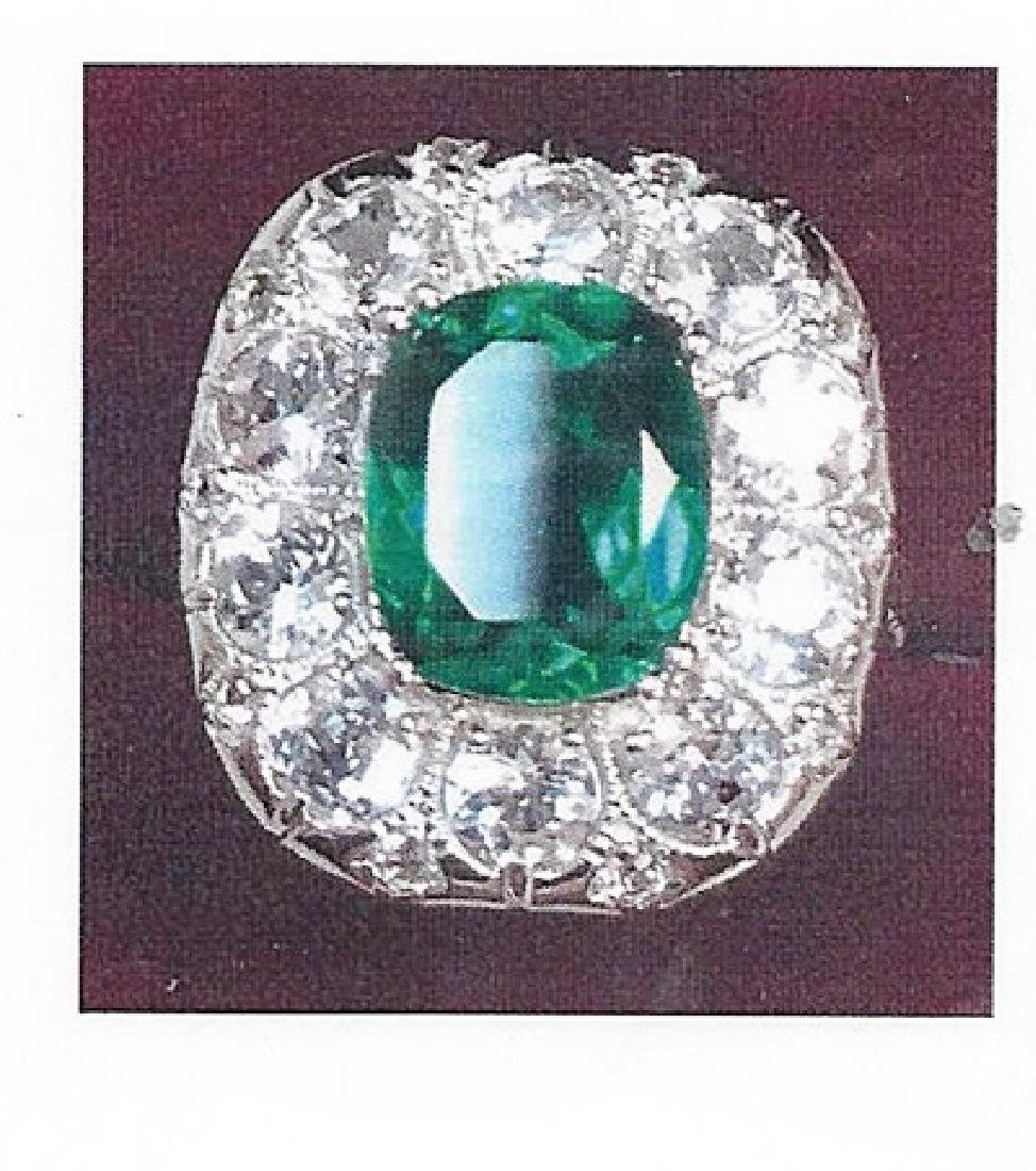 Lady's silver lab emerald ring