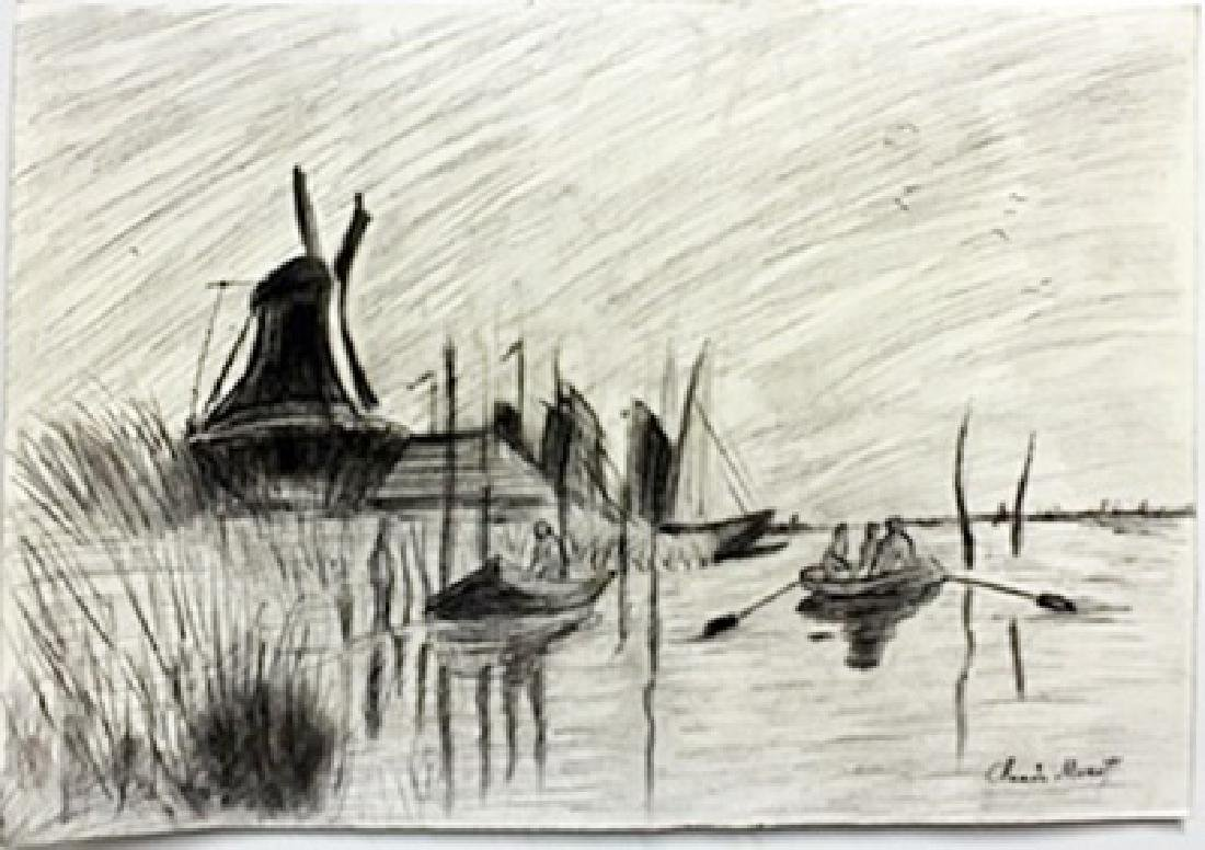 Pastel Drawing on Paper -  Claude Monet