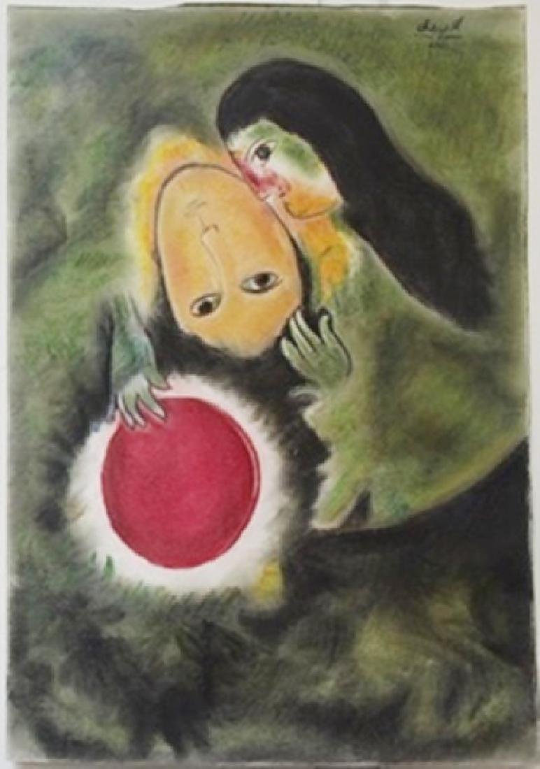 Pastel Painting on Paper -  Marc Chagall