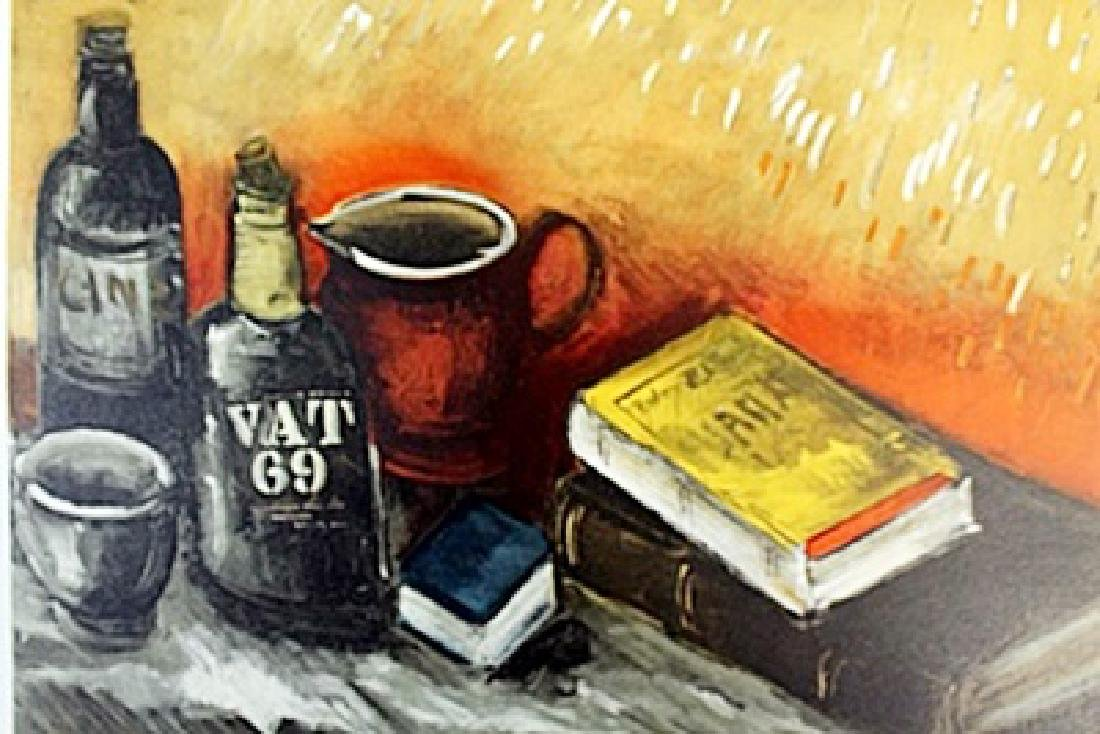 """""""Still Life With Whisky Bottle"""" Lithograph by Valmic"""